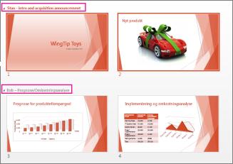 Få vist alle slides i en præsentation