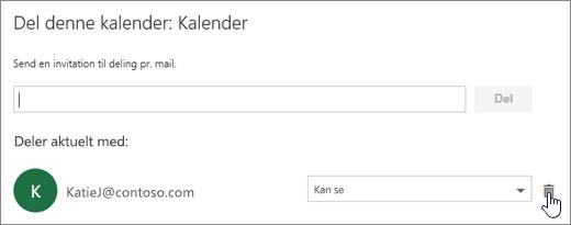 Et skærmbillede af dialogboksen Del denne kalender.