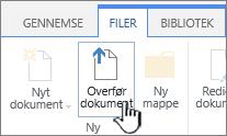 Knappen Overfør dokument på båndet