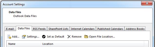 Fanen datafiler viser alle dine konti.