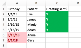 Betinget formateringseksempel med fødselsdatoer, navne og en sendt-kolonne