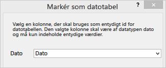 Dialogboksen Markér som datotabel