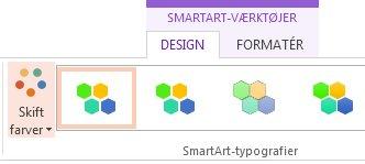 Knappen Skift farver i gruppen SmartArt-typografier
