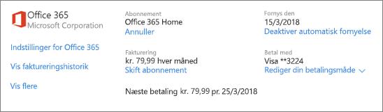 Skærmbillede af siden Tjenester og abonnementer, der viser abonnementsoplysninger for et Office 365 Home-abonnement.
