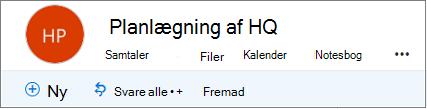 Sådan ser gruppesidehovedet ud i Outlook på internettet
