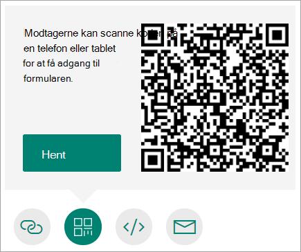 Send en QR-kode til din telefon, som modtagerne kan scanne på en telefon eller tablet