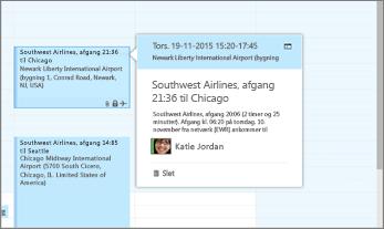 Skærmbillede af Outlook, som viser flyrejseoplysninger.