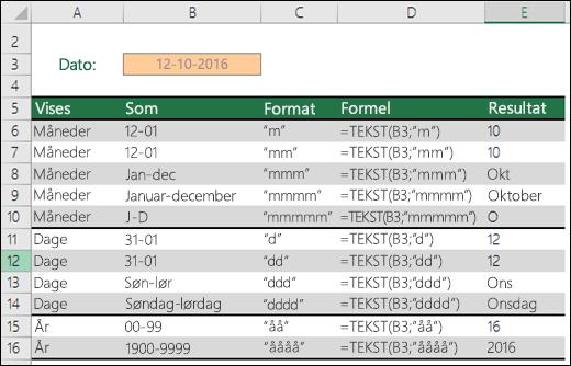 Formatkoder for måned, dag og år