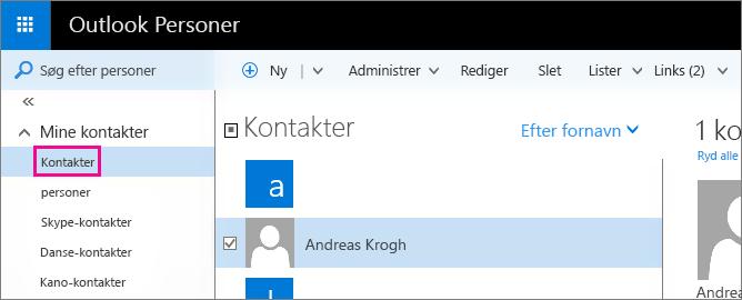 Skærmbillede af siden Personer i Outlook. I venstre rude udvides Mine kontakter, og mappen Kontakter vises under den.