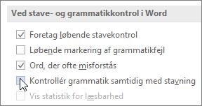 Afkrydsningsfelter for grammatikkontrol
