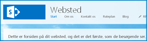 Skærmbillede af standardstartsiden for et offentligt websted i SharePoint Online