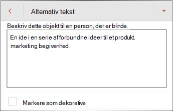 Dialogboksen alternativ tekst til en figur i PowerPoint til Android.