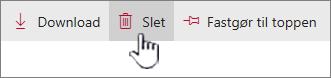 Slet ikon og link fremhævet på det øverste linkpanel