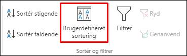 Indstillingen for Brugerdefineret sortering i Excel under fanen Data
