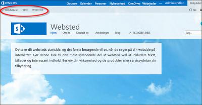 Standardsidelayout for offentlige Office 365-websted