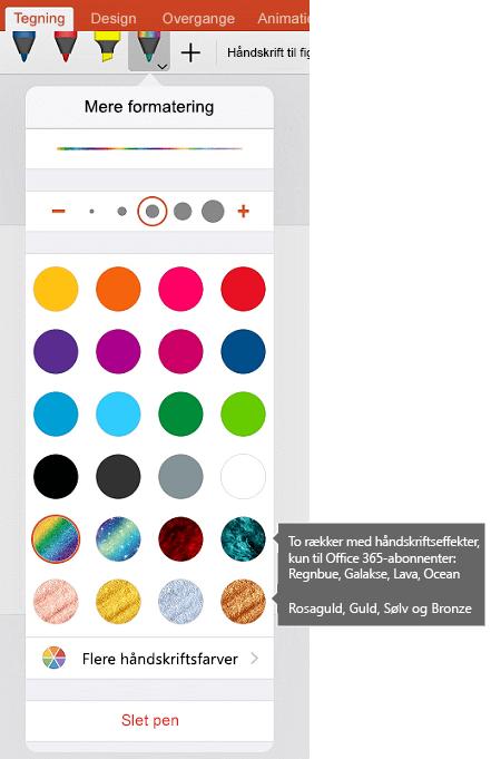 Håndskrift farver og effekter til tegning med håndskrift i Office på iOS