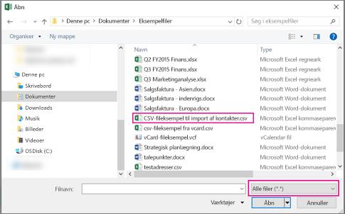 For at finde CSV-filen, skal du sørge for at søge efter Alle filer.