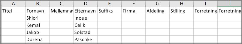 Et eksempel på en csv-fil med eksport af kontaktpersoner fra Outlook