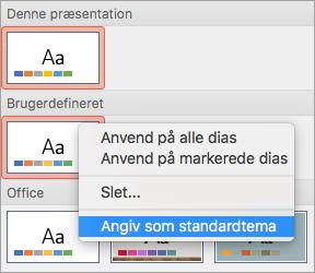 Viser dialogboksen Angiv som standardtema i et brugerdefineret tema