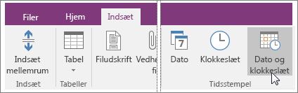 Skærmbillede af knappen Dato og klokkeslæt i OneNote 2016.