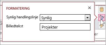 Dialogboksen Formatering i webdataarkvisning