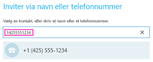 Telefonnummer til udgående opkald i Skype for Business
