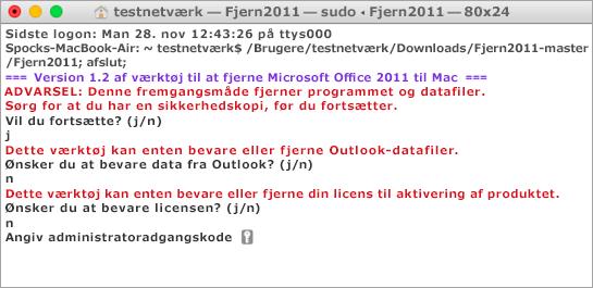 Kør værktøjet Remove2011 ved hjælp af Ctrl + klik for at åbne.