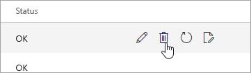 Et skærmbillede af knappen Slet på siden for mobile enheder.