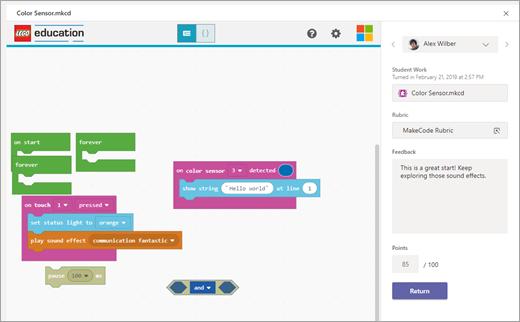 En undervisers karaktervisning i Microsoft Teams for en MakeCode-opgave