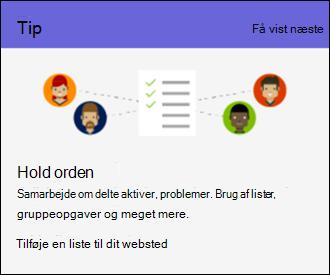 Tip til brugen af SharePoint Online-websted