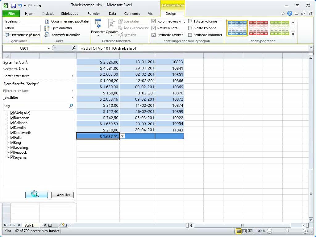 Brug formler i tabeller