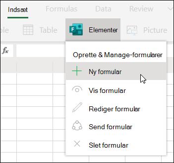 Indsæt Ny formular for Excelindstilling i Excel Online
