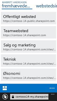 Fremhævede websteder i SharePoint Online på en mobilenhed
