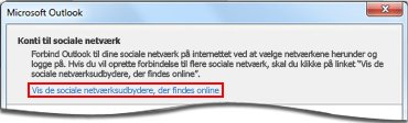 Siden Kæd til Outlook Social Connector-udbyder