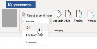 Slå Registrer ændringer fra.