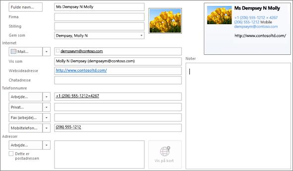 Delvist udfyldt Outlook-visitkort