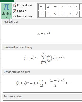 Indbyggede ligningsskabeloner, der findes under knappen Ligning