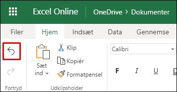 Brug knappen Fortryd i Excel til internettet på fanen Startside for at fortryde en tidligere sortering