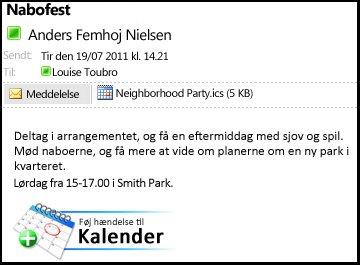 Eksempel-e-mail med en vedhæftet iCalendar-fil og en knap