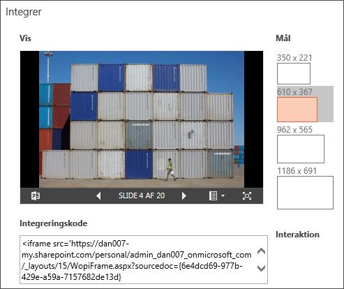 Ændre størrelsesdimensioner for integreret PowerPoint