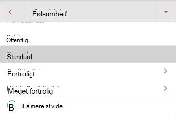 Skærmbillede af følsomhedsmærkater i Office til Android
