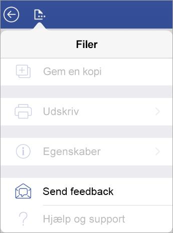 Skærmbillede af linket Send Feedback i Visio på iPad