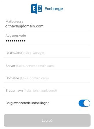 Angiv din adgangskode til Exchange