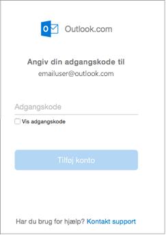 Angiv adgangskoden til din outlook.com-mailkonto