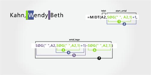 Formel til adskillelse af et efternavn efterfulgt af et for- og mellemnavn