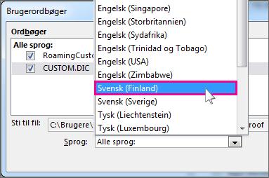 Vælge et sprog til en brugerordbog