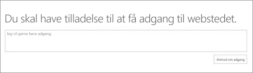 Dialogboksen SPO-adgang nægtet.