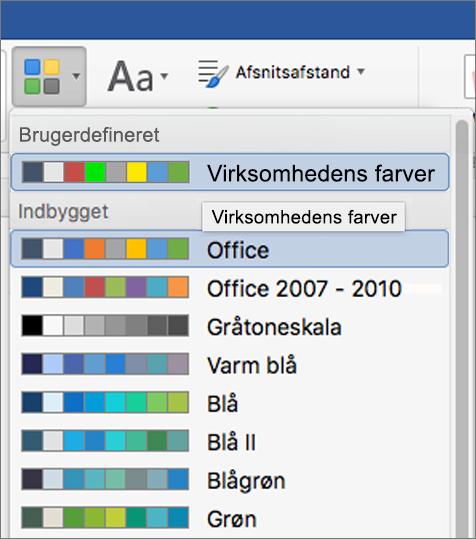 Word brugerdefinerede temafarver