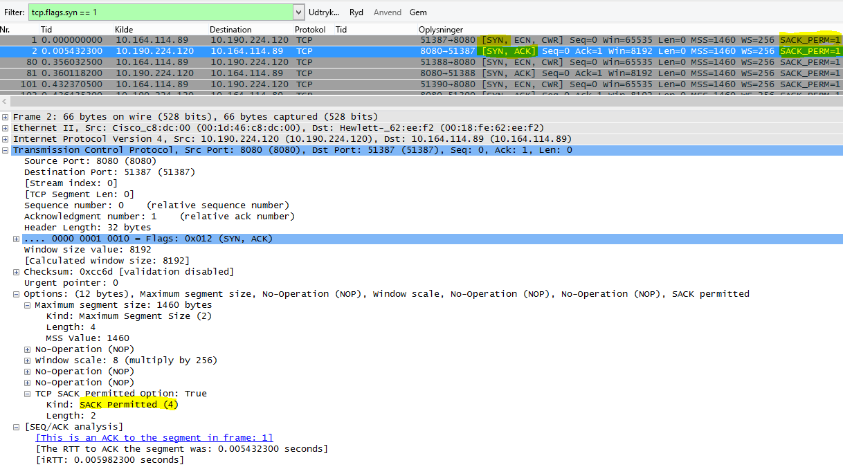 SACK som set i Wireshark med filteret tcp.flags.syn == 1.