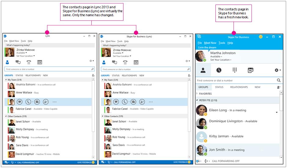 Sammenligning side om side af siden Kontakter i Lync 2013 og siden Kontakter i Skype for Business
